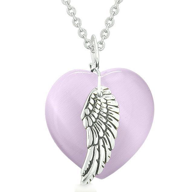 Guardian Angel Wing Inspirational Amulet Magic Heart Purple Simulated Cats Eye Pendant Necklace