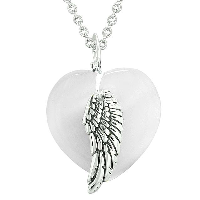 Guardian Angel Wing Inspirational Amulet Magic Heart White Simulated Cats Eye Pendant Necklace
