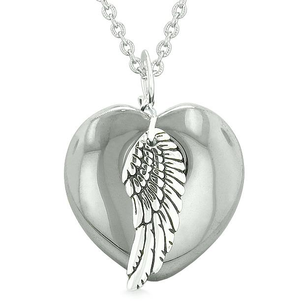 Guardian Angel Wing Inspirational Amulet Magic Puffy Heart Hematite Pendant 18 inch Necklace