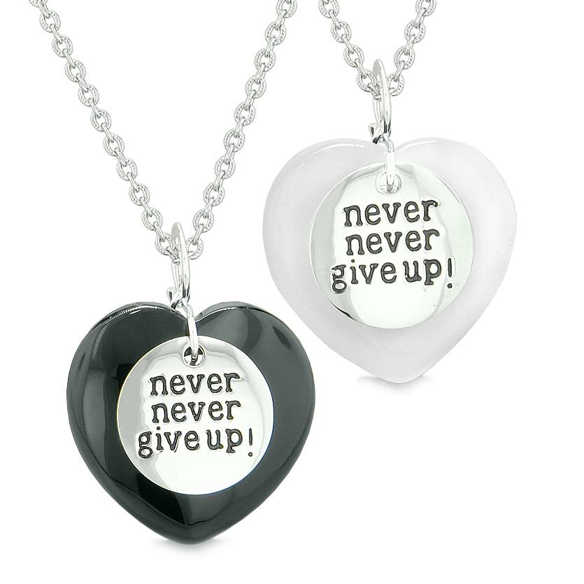Amulets Never Give Up Love Couples or Best Friends Hearts Agate White Simulated Cats Eye Necklaces