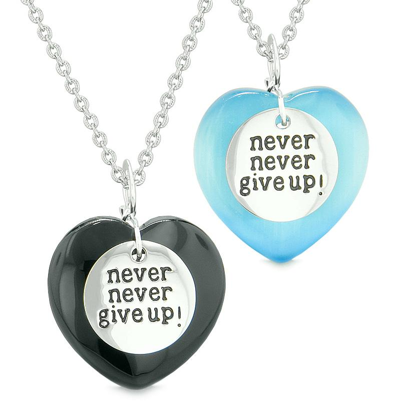 Amulets Never Give Up Love Couples Best Friends Hearts Agate Sky Blue Simulated Cats Eye Necklaces