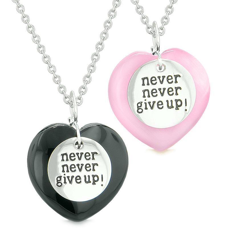 Amulets Never Give Up Love Couples or Best Friends Hearts Agate Pink Simulated Cats Eye Necklaces