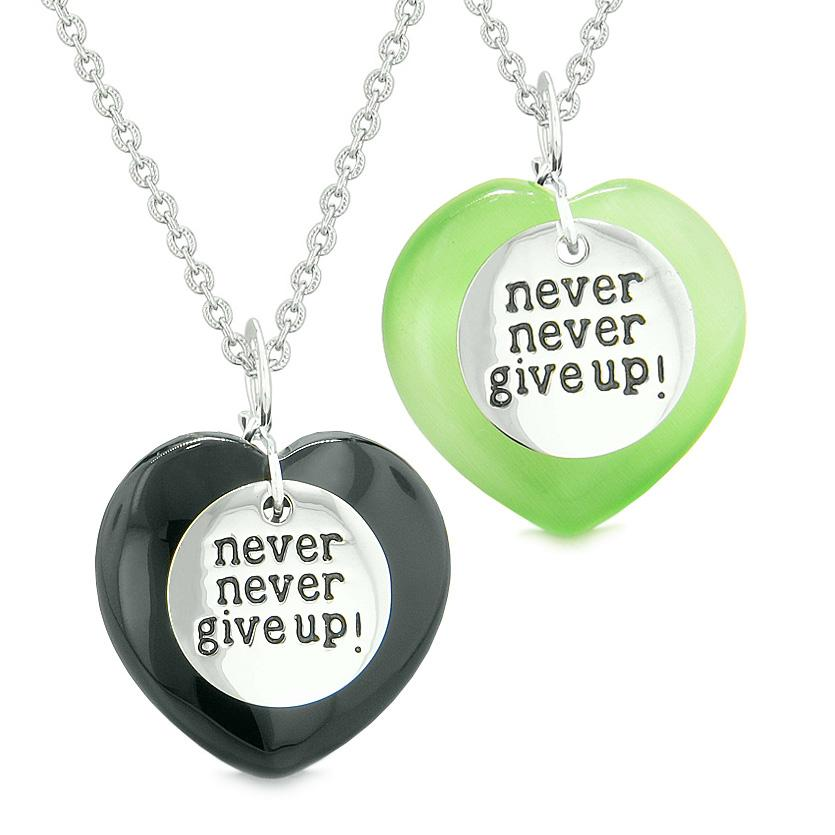 Amulets Never Give Up Love Couple Best Friends Hearts Agate Green Simulated Cats Eye Necklaces