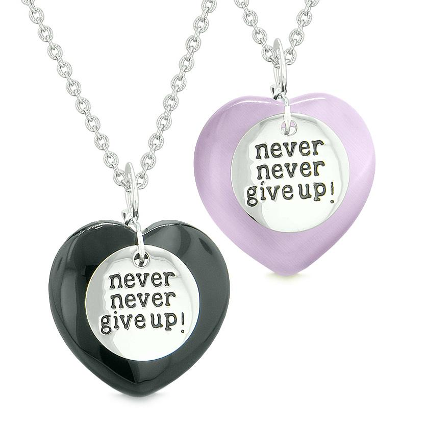 Amulets Never Give Up Love Couples or Best Friends Hearts Agate Purple Simulated Cats Eye Necklaces
