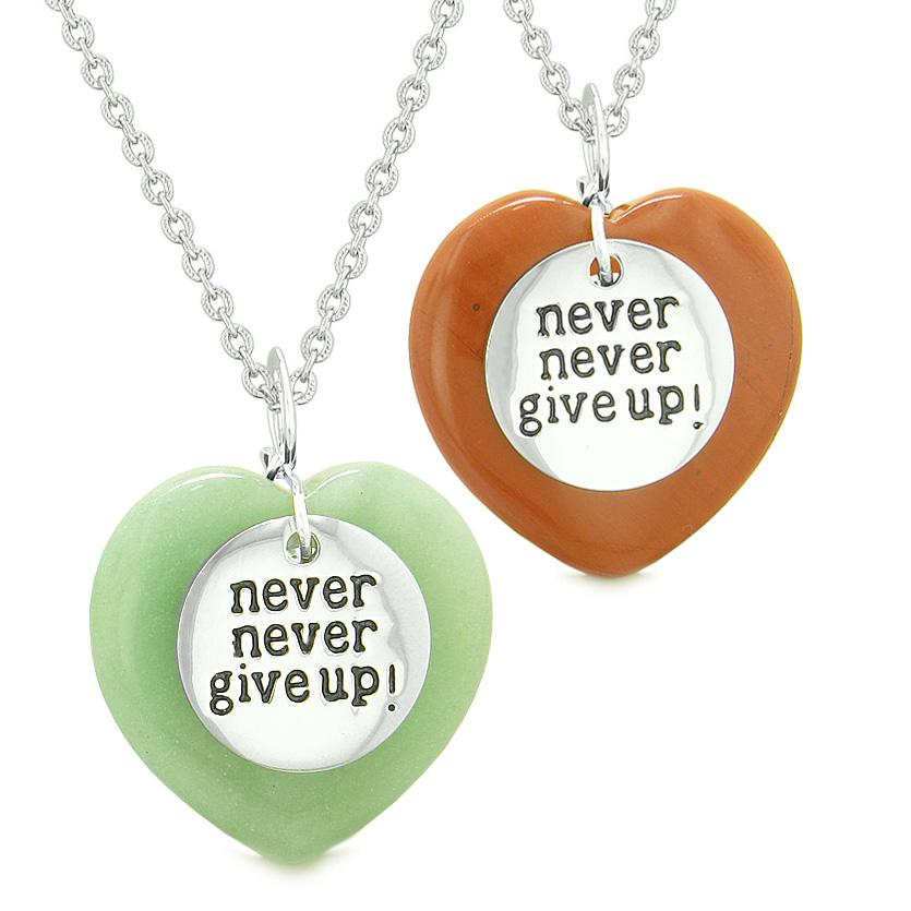 Amulets Never Give Up Love Couples or Best Friends Puffy Hearts Red Jasper Green Quartz Necklaces