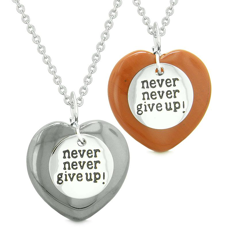 Amulets Never Give Up Love Couples or Best Friends Magic Puffy Hearts Red Jasper Hematite Necklaces