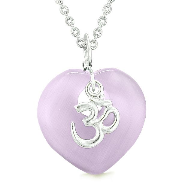 Ancient Tibetan OM Inspirational Amulet Magic Heart Purple Simulated Cats Eye Pendant Necklace