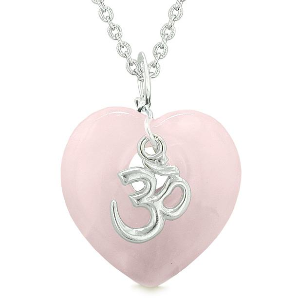 Ancient Tibetan OM Inspirational Amulet Puffy Magic Heart Rose Quartz Pendant 22 inch Necklace