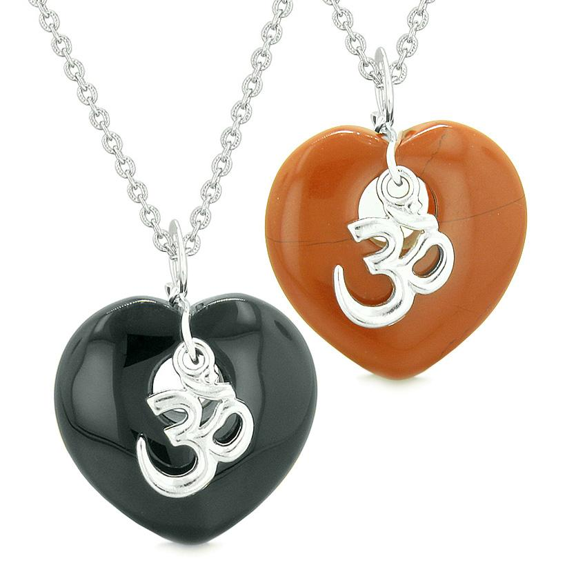 Ancient Tibetan OM Amulets Love Couples Best Friends Magic Puffy Hearts Agate Red Jasper Necklaces