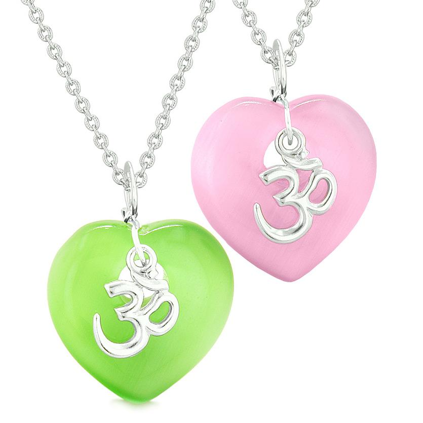 Ancient OM Amulets Love Couples Best Friends Magic Hearts Pink Green Simulated Cats Eye Necklaces