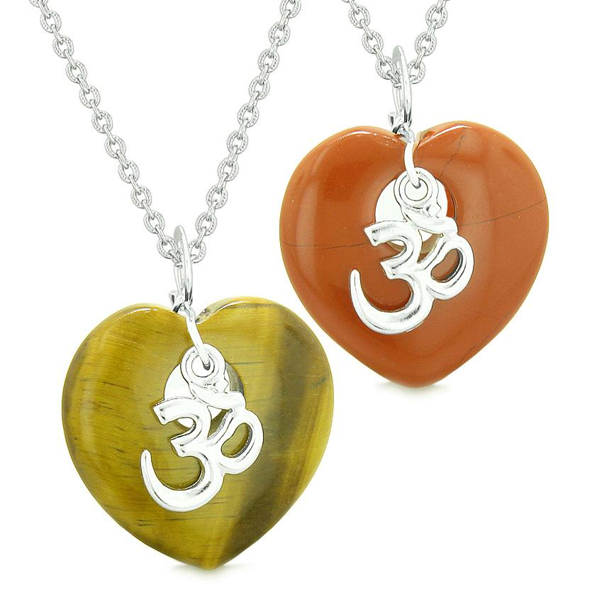 Ancient Tibetan OM Amulets Love Couples or Best Friends Puffy Hearts Red Jasper Tiger Eye Necklaces