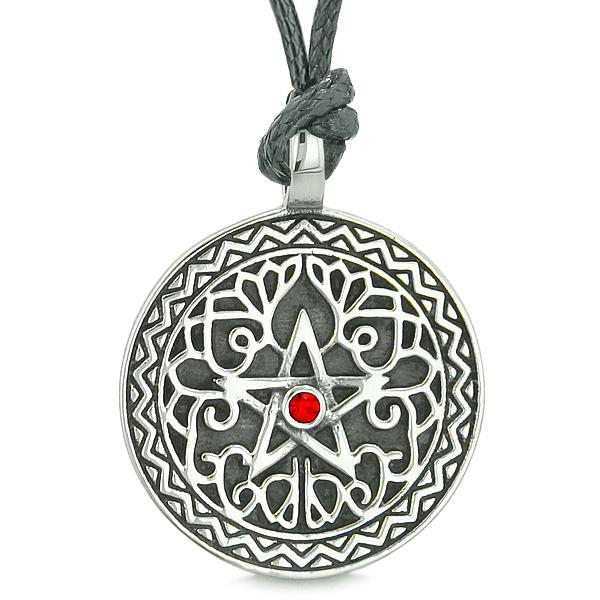 Amulet Pentacle Magic Star Celtic Defense Powers Pentagram Red Crystal Pendant Cord Necklace