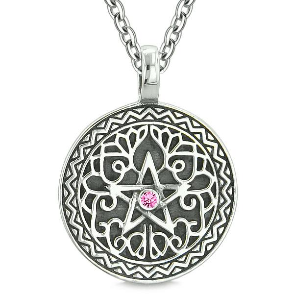 Amulet Pentacle Magic Star Celtic Defense Powers Pentagram Pink Crystal Pendant 18 inch Necklace