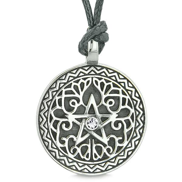 Amulet Pentacle Magic Star Celtic Defense Powers Pentagram White Crystal Pendant Cord Necklace