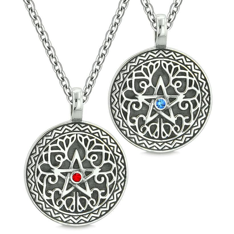 Pentacle Magic Star Celtic Power Amulets Love Couples or Best Friends Blue Red Crystals Necklaces