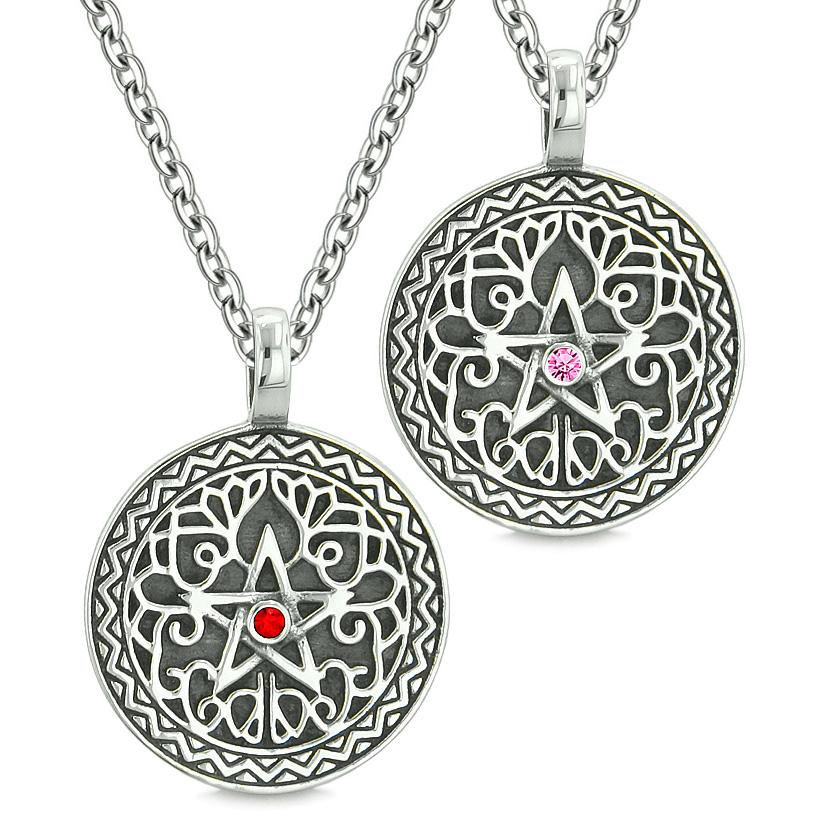 Pentacle Magic Star Celtic Power Amulets Love Couples or Best Friends Pink Red Crystals Necklaces