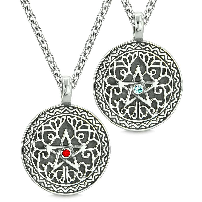 Pentacle Magic Star Celtic Power Amulets Love Couple Best Friends Sky Blue Red Crystals Necklaces