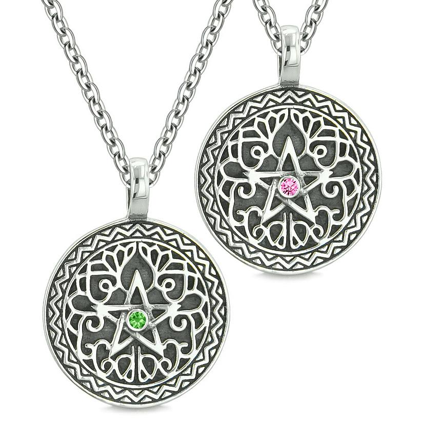 Pentacle Magic Star Celtic Power Amulets Love Couples Best Friends Green Pink Crystals Necklaces