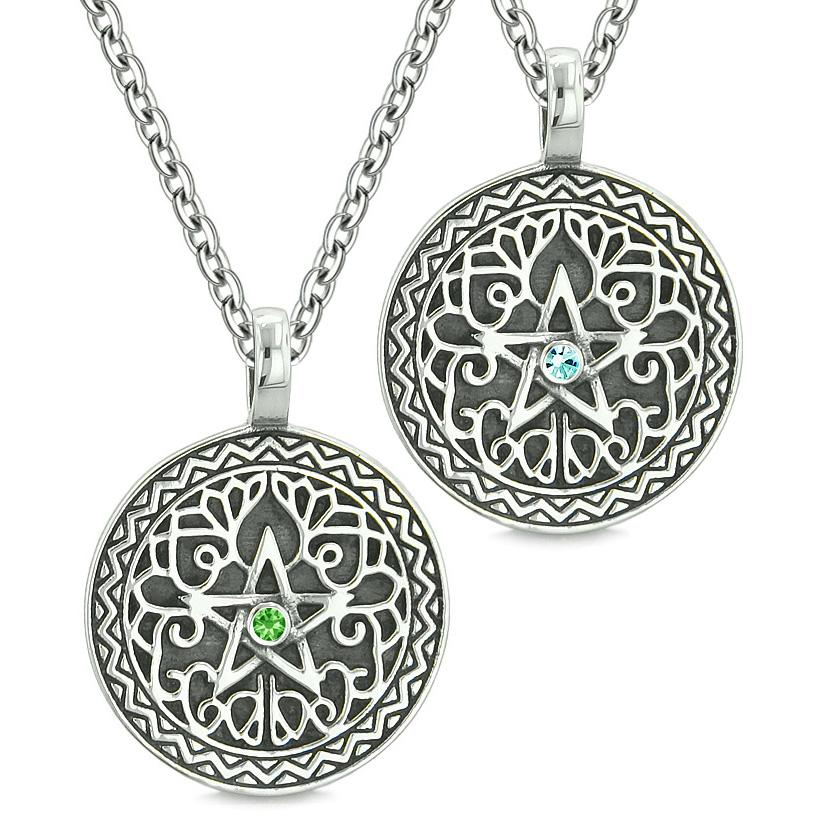 Pentacle Magic Star Celtic Power Amulet Love Couple Best Friends Green Sky Blue Crystal Necklaces