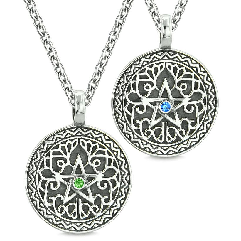 Pentacle Magic Star Celtic Power Amulets Love Couples Best Friends Blue Green Crystals Necklaces
