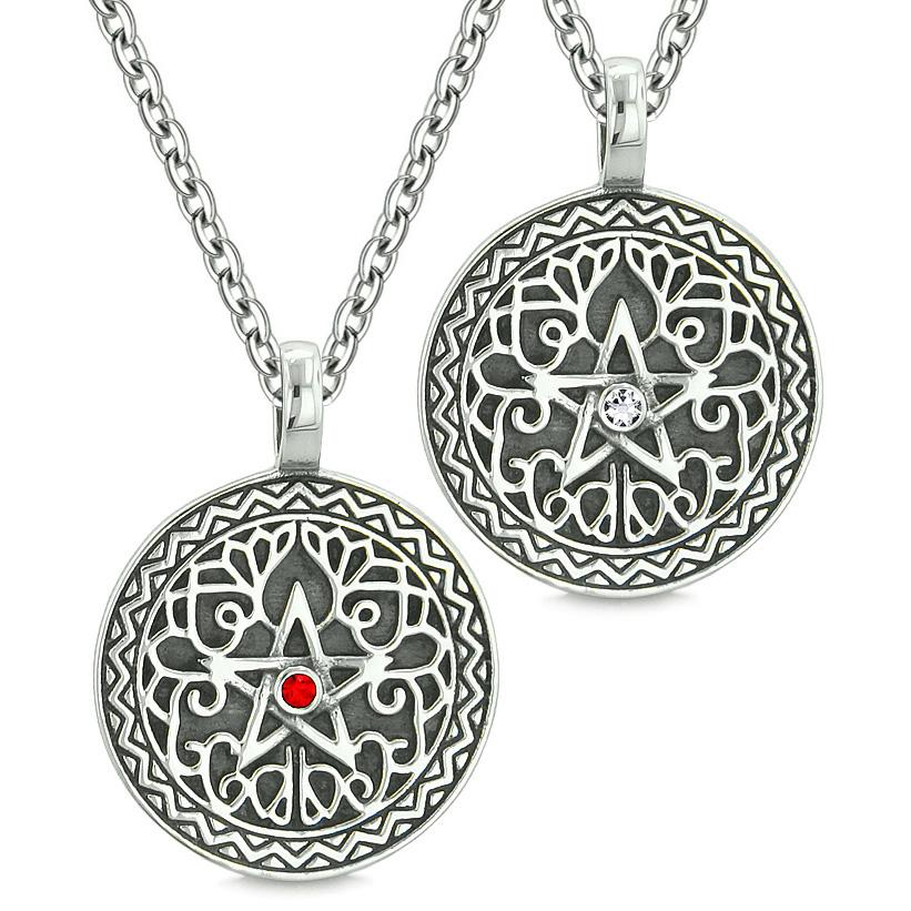 Pentacle Magic Star Celtic Power Amulets Love Couple or Best Friends White Red Crystals Necklaces