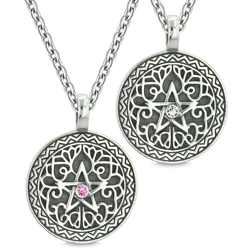Pentacle Magic Star Celtic Power Amulets Love Couples Best Friends Pink White Crystals Necklaces