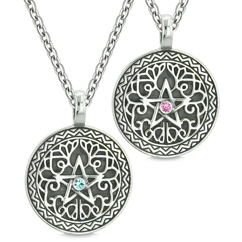Pentacle Magic Star Celtic Power Amulets Love Couple Best Friends Sky Blue Pink Crystal Necklaces