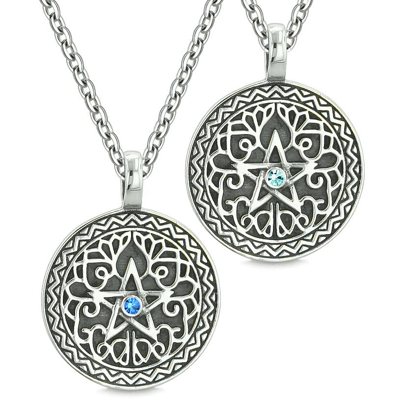Pentacle Magic Star Celtic Power Amulet Love Couple Best Friends Royal Sky Blue Crystal Necklaces