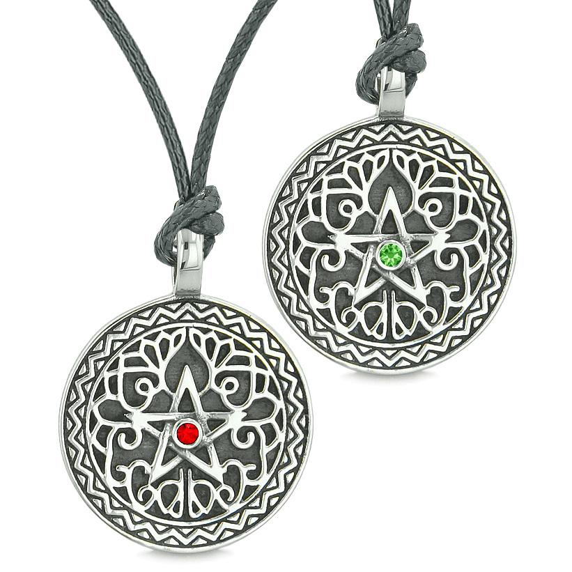 Pentacle Star Celtic Amulets Love Couples or Best Friends Red Green Crystals Adjustable Necklaces