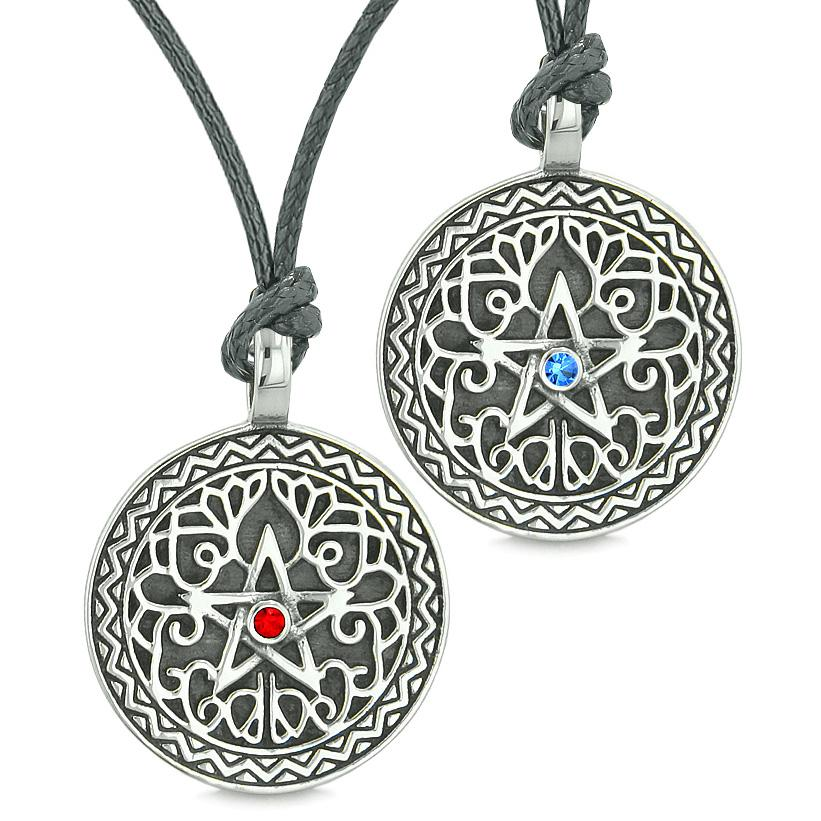 Pentacle Star Celtic Amulets Love Couples or Best Friends Red Blue Crystals Adjustable Necklaces