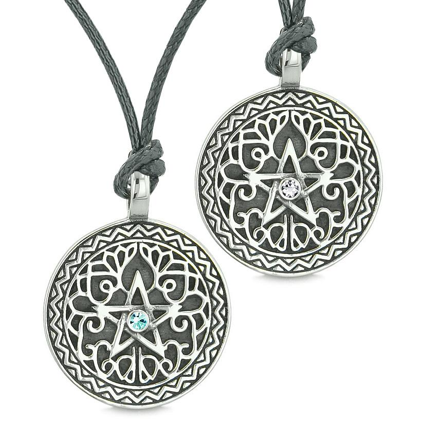 Pentacle Star Celtic Amulets Love Couple Best Friends White Sky Blue Crystal Adjustable Necklaces
