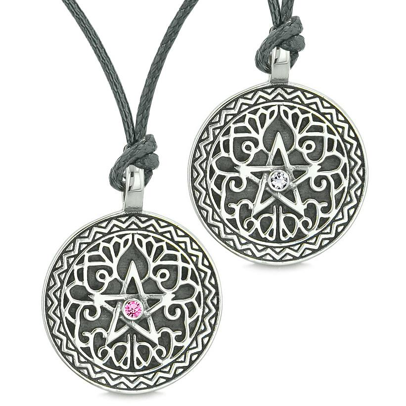 Pentacle Star Celtic Amulets Love Couples Best Friends Pink White Crystals Adjustable Necklaces