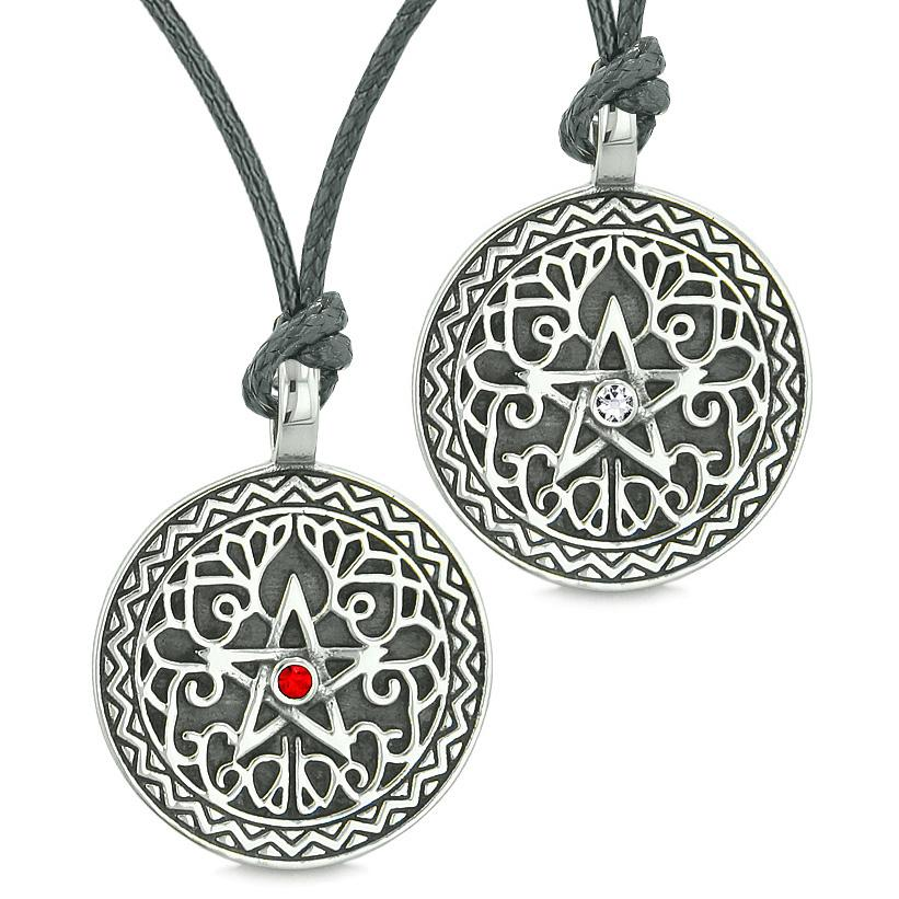 Pentacle Star Celtic Amulets Love Couples or Best Friends Red White Crystals Adjustable Necklaces