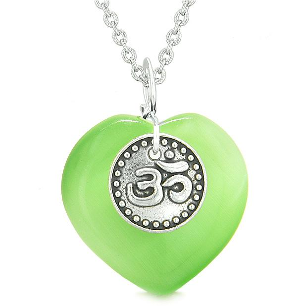 Magic OM Tibetan Spiritual Puffy Heart Amulet Green Simulated Cats Eye Pendant Necklace