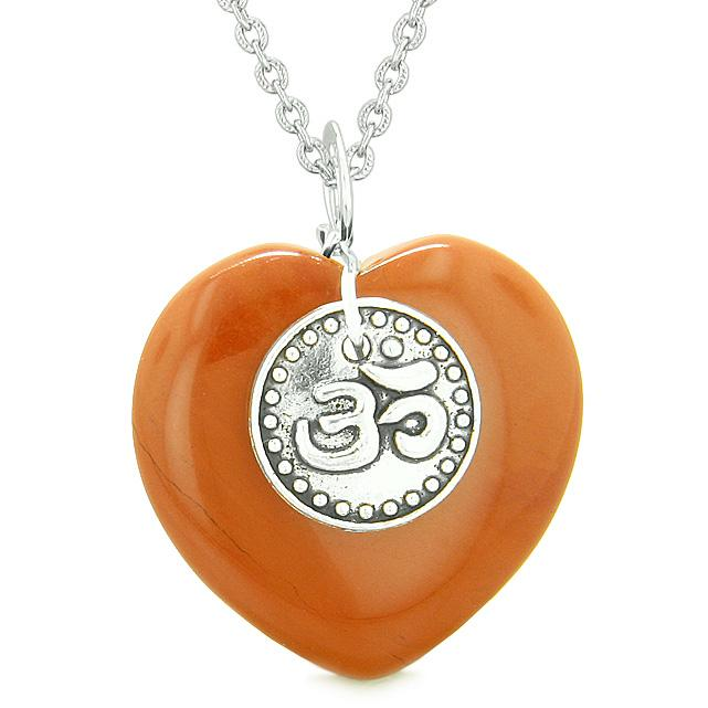 Magic OM Tibetan Spiritual Powers Puffy Heart Amulet Red Jasper Pendant 18 inch Necklace