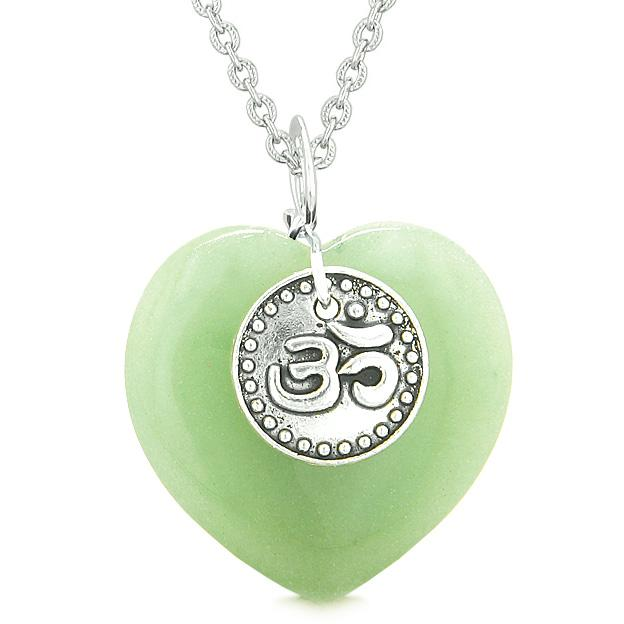 Magic OM Tibetan Spiritual Powers Puffy Heart Amulet Green Quartz Pendant 18 inch Necklace