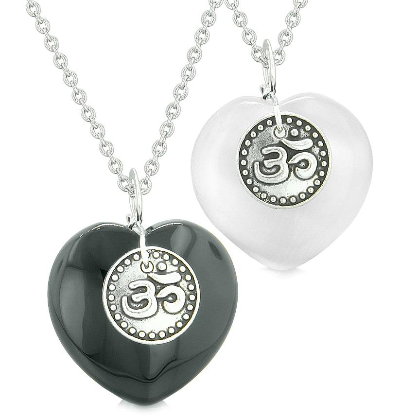 Spiritual OM Amulets Love Couples or Best Friends Hearts Agate White Simulated Cats Eye Necklaces