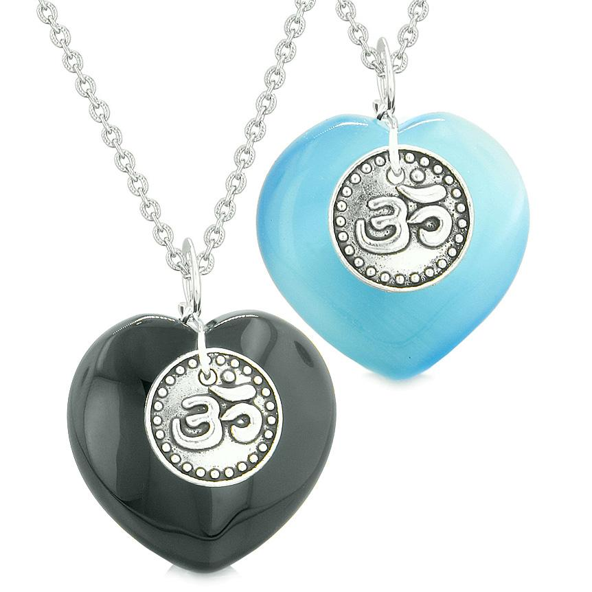 Spiritual OM Amulets Love Couple or Best Friends Hearts Agate Sky Blue Simulated Cats Eye Necklaces