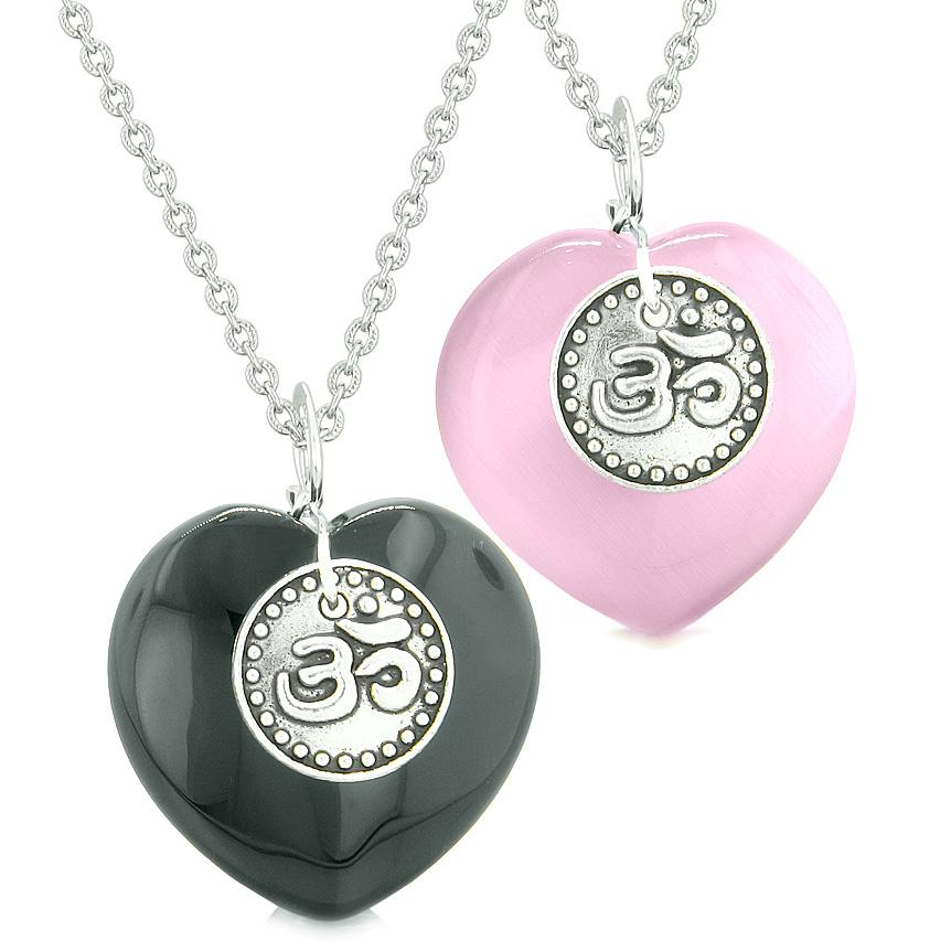Spiritual OM Amulets Love Couples or Best Friends Hearts Agate Pink Simulated Cats Eye Necklaces