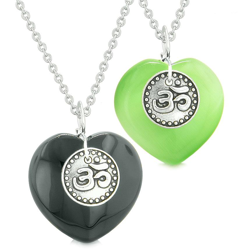 Spiritual OM Amulets Love Couples Best Friends Hearts Agate Green Simulated Cats Eye Necklaces