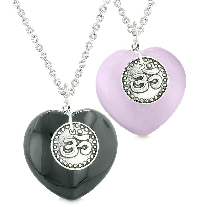 Spiritual OM Amulets Love Couples or Best Friends Hearts Agate Purple Simulated Cats Eye Necklaces