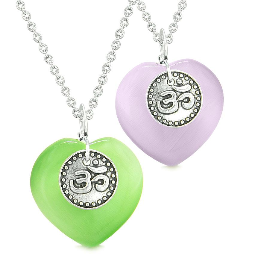 Spiritual OM Amulets Love Couples or Best Friends Hearts Purple Green Simulated Cats Eye Necklaces