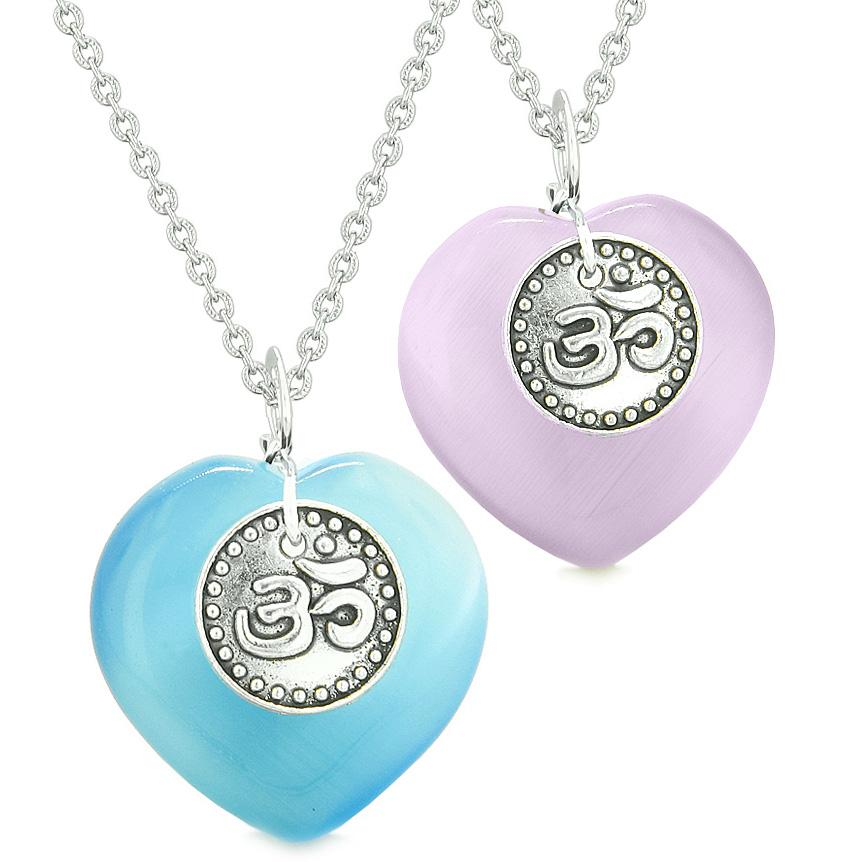 Spiritual OM Amulets Love Couples Best Friends Hearts Purple Sky Blue Simulated Cats Eye Necklaces