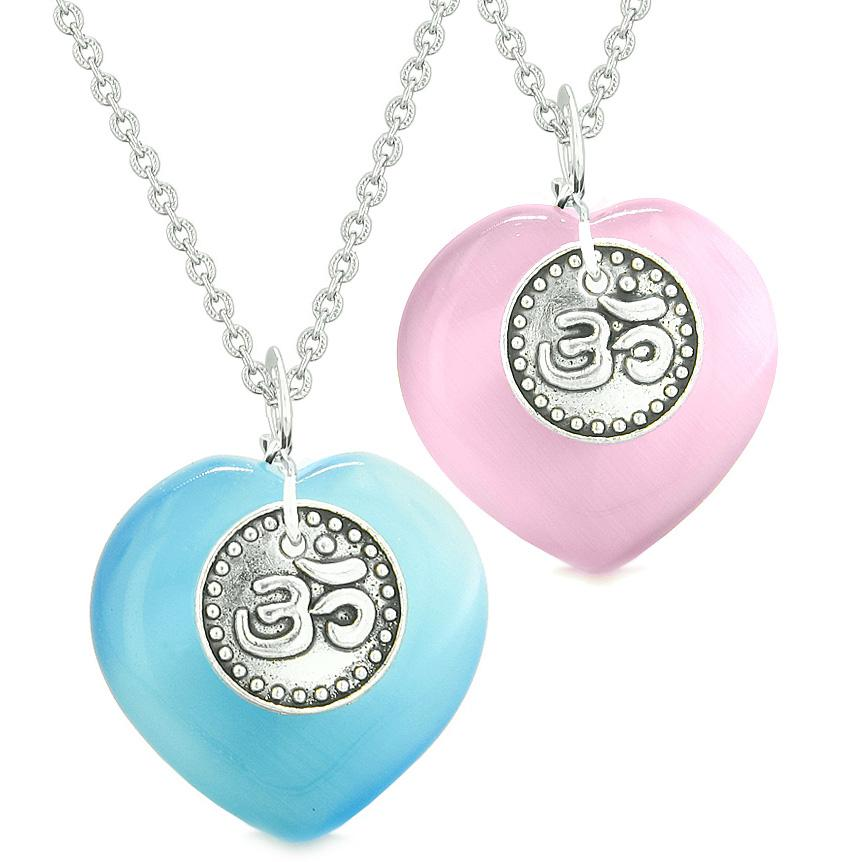 Spiritual OM Amulets Love Couples or Best Friends Hearts Pink Sky Blue Simulated Cats Eye Necklaces