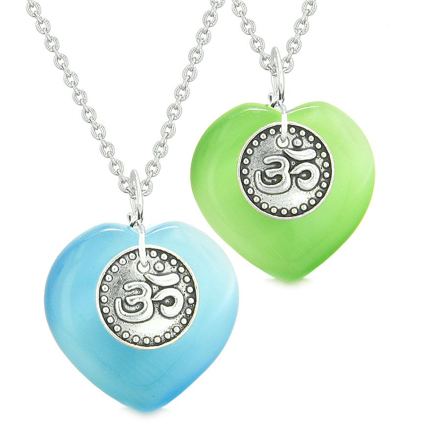 Spiritual OM Amulets Love Couples or Best Friends Hearts Green Blue Simulated Cats Eye Necklaces