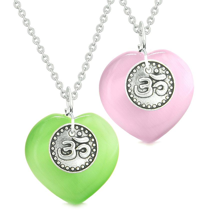 Spiritual OM Amulets Love Couples or Best Friends Hearts Green Pink Simulated Cats Eye Necklaces