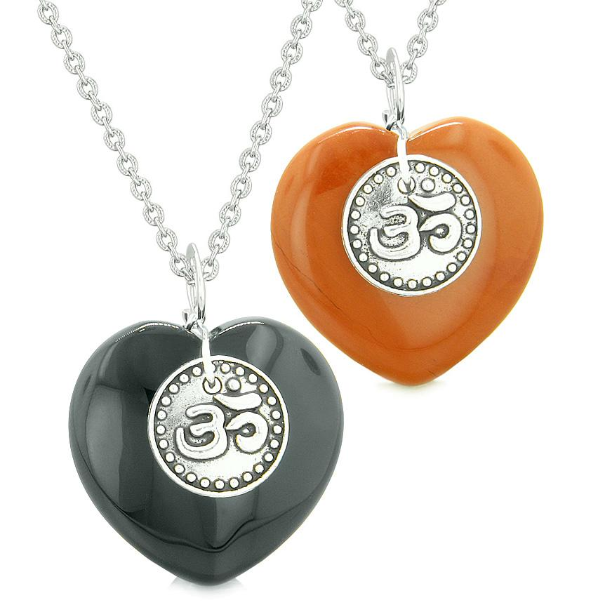 Spiritual OM Amulets Love Couples or Best Friends Magic Hearts Black Agate Red Jasper Necklaces