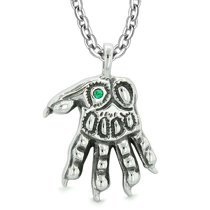 WereWolf Supernatural Power Courage All Seeing Eye Royal Green Crystal Wolve Paw Pendant Necklace