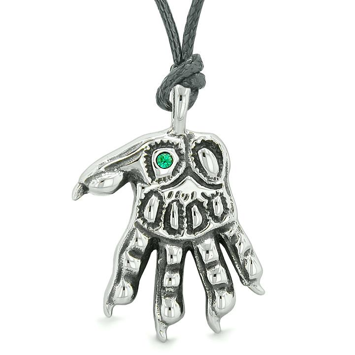 WereWolf Supernatural Power Courage All Seeing Eye Royal Green Crystal Wolve Paw Cord Necklace
