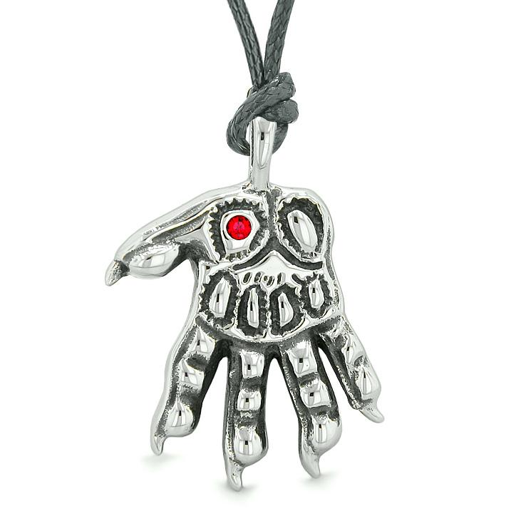 WereWolf Supernatural Powers Courage All Seeing Eye Royal Red Crystal Wolves Paw Cord Necklace